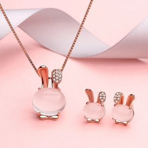 Natural Hibiscus Stone Pendant Pink Crystal Rabbit
